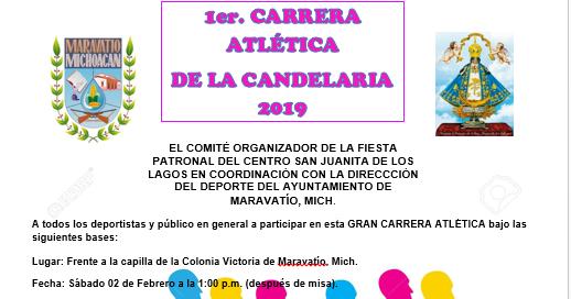Se realizará la 1er Carrera Atlética de la Candelaría 2019