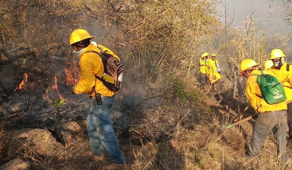 Brigadistas maravatienses trabajan para combatir incendios forestales