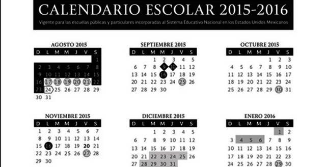 Revisa el Calendario Escolar 2016