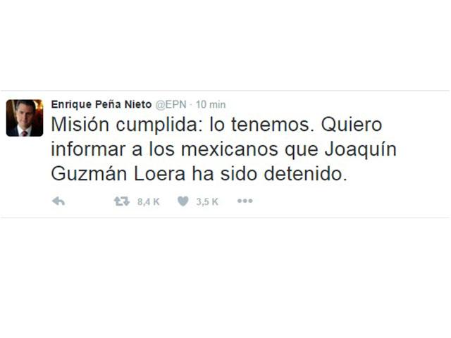 'El Chapo' Guzmán fue recapturado, informa Peña Nieto