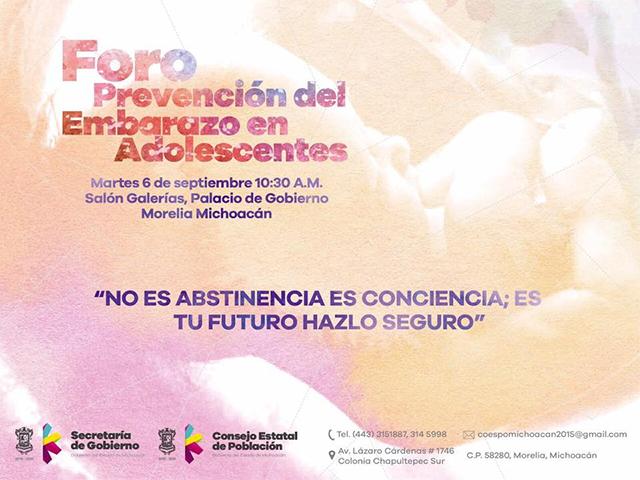 Alistan primer foro de Prevención de embarazos en Adolescentes