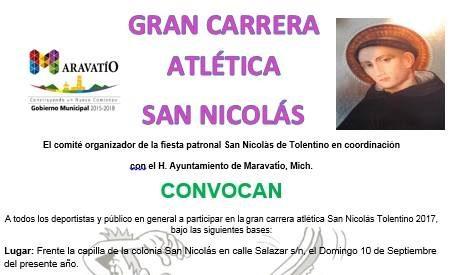 """Con Carrera Atlética festejarán a """"San Nicolás"""""""