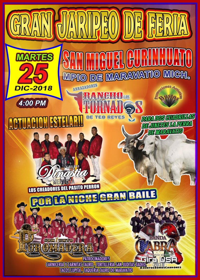 Jaripeos por la Fiesta Patronal en San Miguel Curinhuato