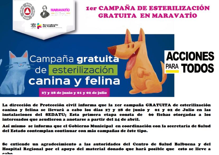 Se llevará a cabo la 1er Campaña de Esterilización gratuita en Maravatío