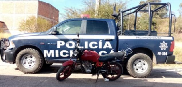 Asegura SSP motocicleta robada, en Ciudad Hidalgo