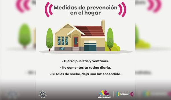 Emite SSP recomendaciones para prevenir el robo a casa habitación