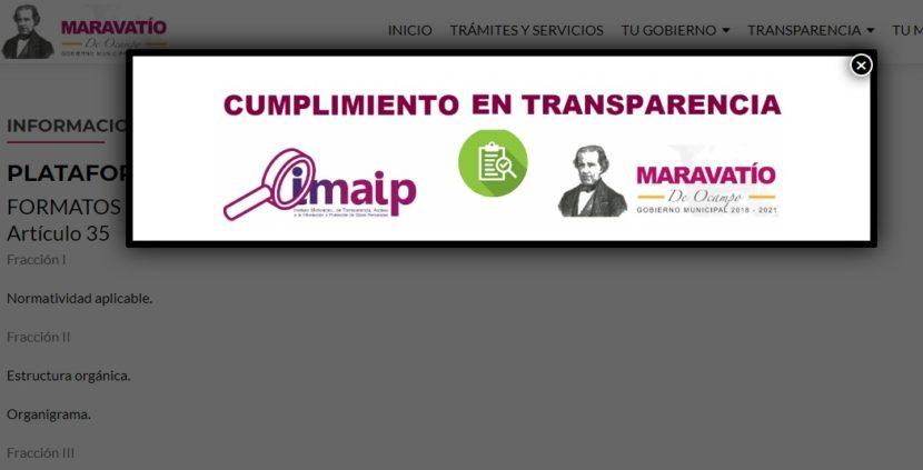 Ayuntamiento de Maravatío cumple al 100% los dictámenes de transparencia