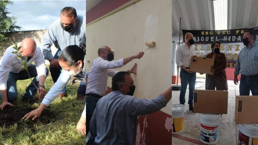 SEE realiza acciones de reforestaciòn y entrega equipo didáctico y de mantenimiento en escuelas de Maravatío