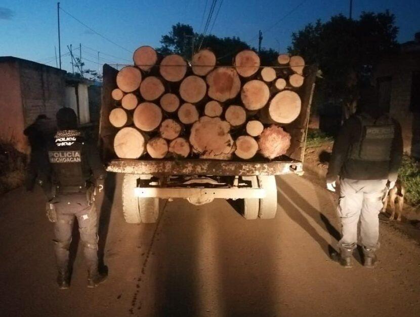 En Zitácuaro, SSP detiene un vehículo cargado con rollos de madera ilegal