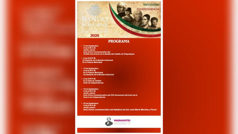 Bando Solemne conmemorativo por las Fiestas Patrias Maravatío 2020